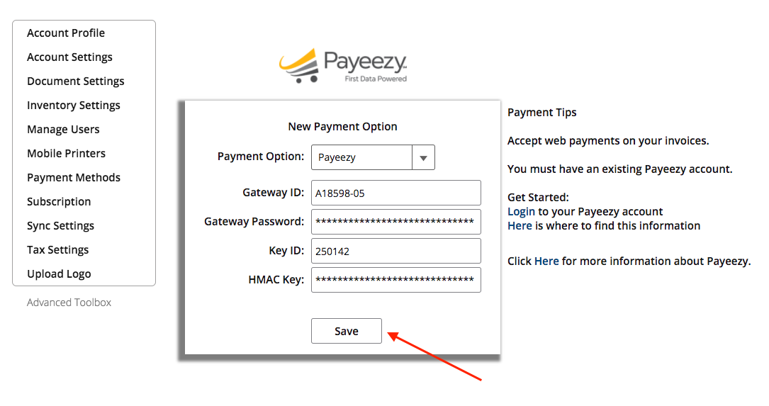 Web Dashboard: Linking Payeezy to InvoiceASAP – InvoiceASAP Support